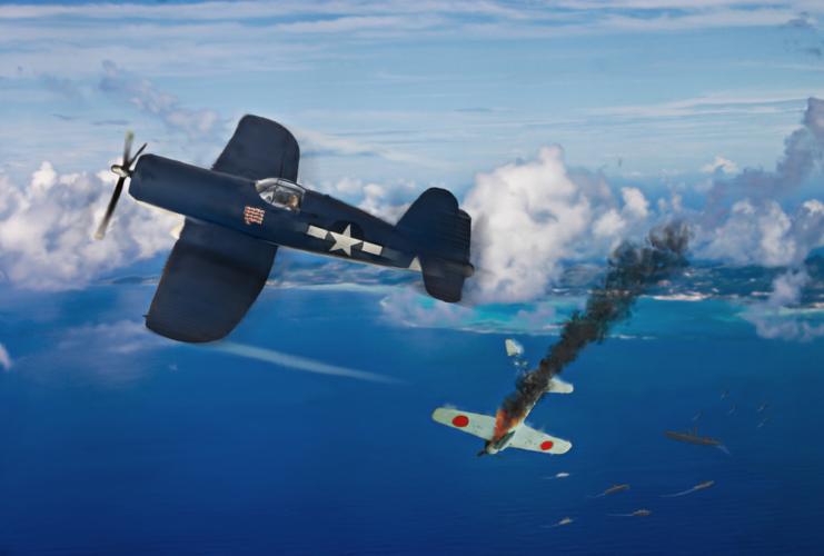 日本海軍が相変わらず零式艦上戦闘機の各型に頼っていたのに対し、アメリカ軍には高性能機が大量に投入されています