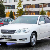 Novyy Urengoy, Russia - September 17, 2015: Motor car Toyota Mark II is parked in the city street.