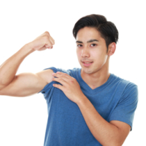 Asian young man doing exercise