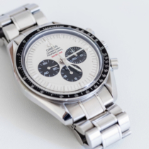 Stuttgart, Germany - May 26, 2016: Omega Speedmaster Professional Apollo XI 35th Anniversary Chronograph with rare White Dial, black bezel and steel bracelet. The Speedmaster Apollo XI 35th Anniversary: Ref. SU 145.0227 is  a very rare one, with its white ePandaf Dial ? a white face with black sub-counters. Under the mention Professional at 12 is written in red gJuly 20, 1969h.