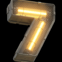Metallic futuristic font with neon yellow light and closed grille