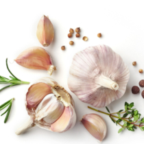 garlic and herbs isolated on white background, top view