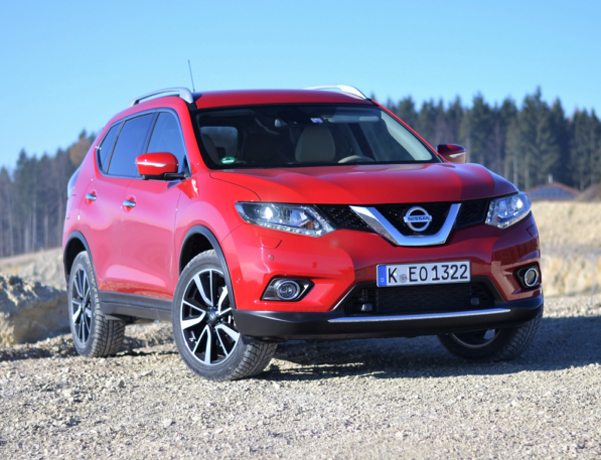 Geisingen, Germany - November 30th, 2016: Nissan X-Trail stopped on the unmade road. The first geneneration of X-Trail was debut in 2001 on the market. The X-Trail model is a bigger brother of Nissan Qashqai - the most popular SUV/crossover on the European market.
