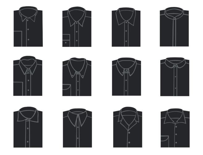 シャツの衿のデザインにこだわる