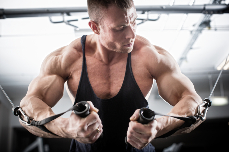 大胸筋上部のトレーニングの後は、大胸筋のアウトラインにも刺激を入れて全体の形を整えていきます。