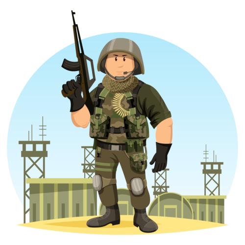 銃器や砲雷を撃ったり、戦車や作戦機に乗ったりして戦うなどの行為は軍人がやるものです。