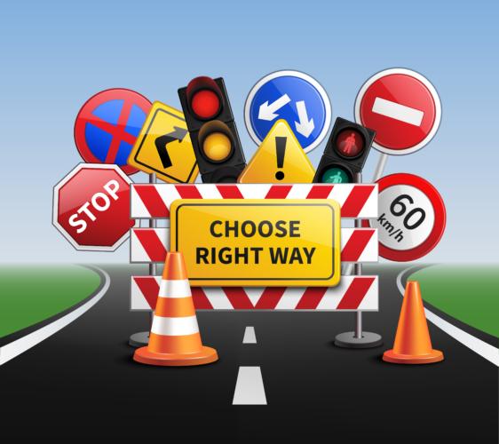 道路標識に従う
