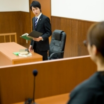 Prosecutor expressing his opinion to judge