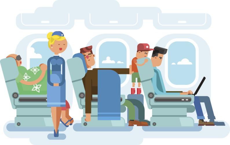 Interior of plane flat design. Transportation passenger, transport vector illustration