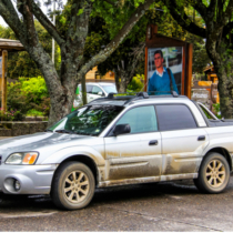Pucon, Chile - November 20, 2015: Motor car Subaru Baja is parked in the city street.