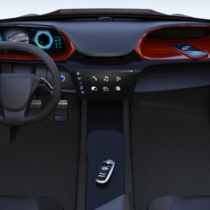 Smart car key on electric car's center console. 3D rendering image.