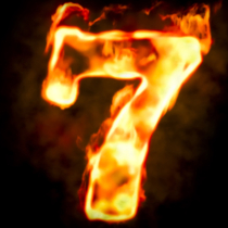 Fire number 7 of burning flame light, 3D rendering