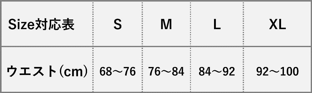 5+0(ゴーゼロ)サイズ表