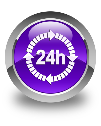 24 hours delivery icon glossy purple round button