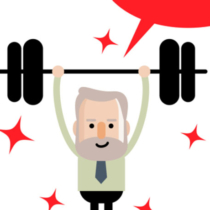 Active and healthy lifestyle senior businessman lifting a weight up and down