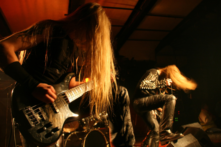 Black metal band on stage