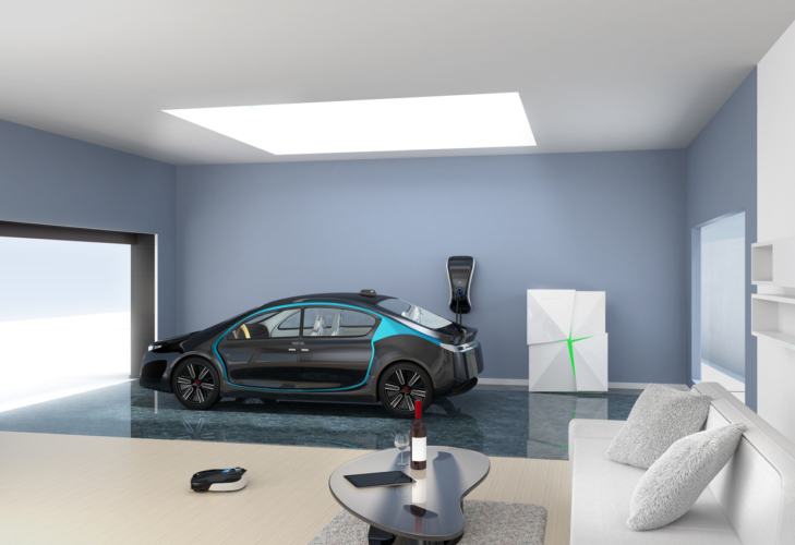 Modern garage interior connect to living room